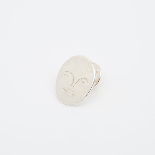 Polly Collins Moon Face Pin in Silver