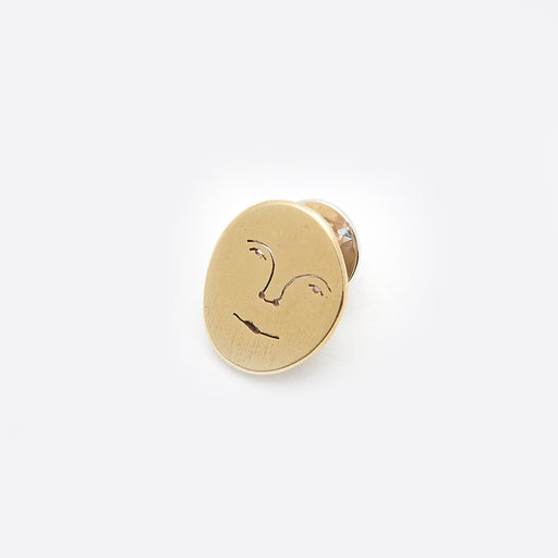 Polly Collins Sun Face Pin in Brass