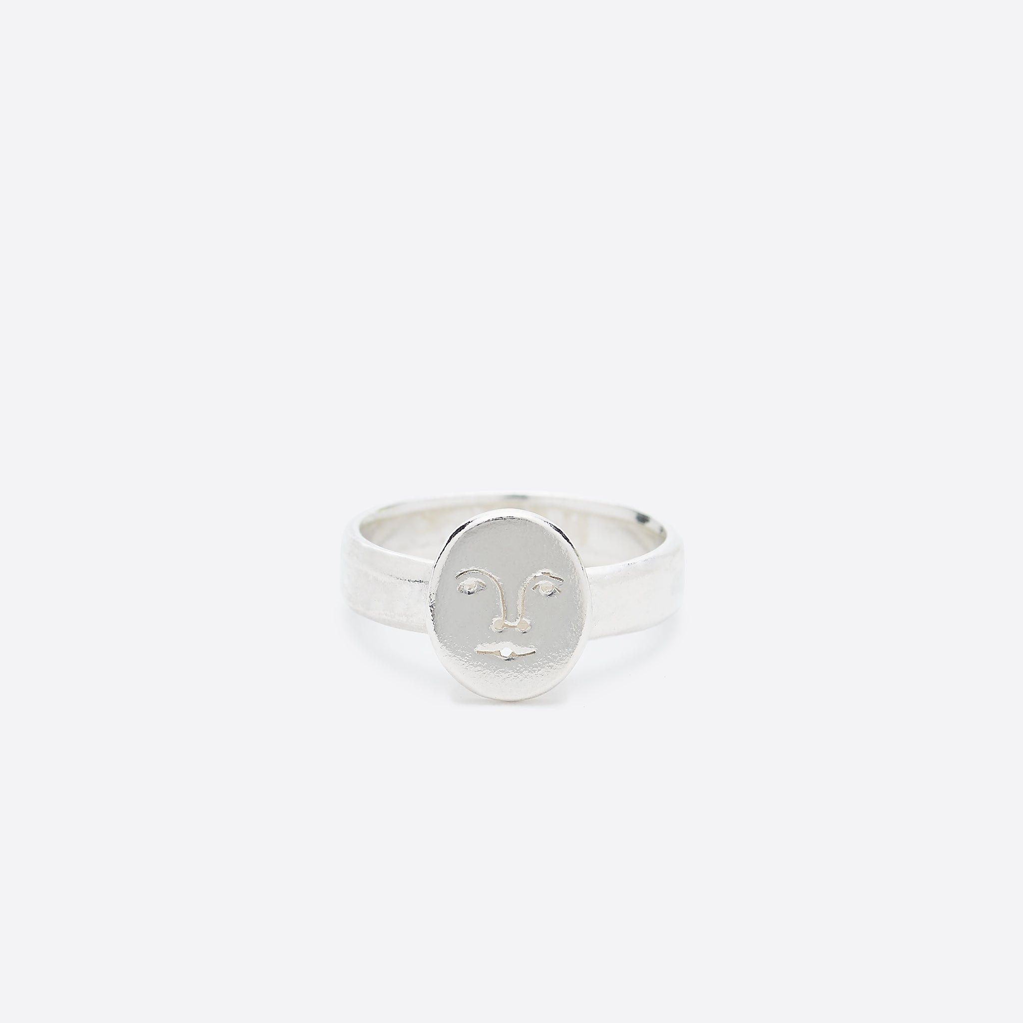 Polly Collins Mini Moon Face Ring in Silver