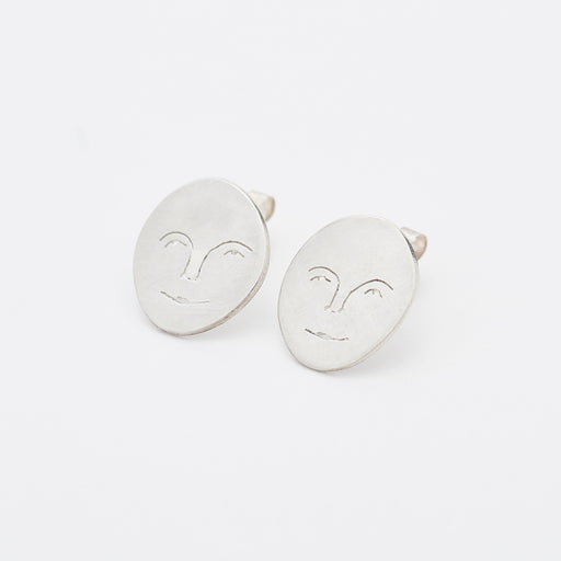 Polly Collins Moon Face Studs in Silver