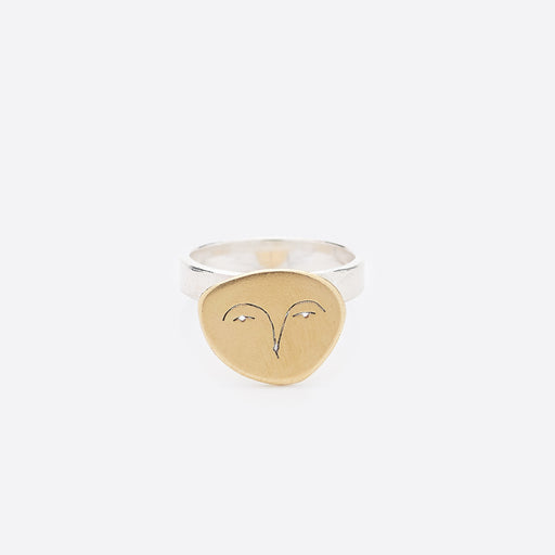 Polly Collins Owl Face Ring in Brass