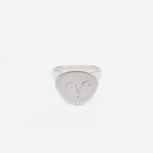 Polly Collins Owl Face Ring in Silver
