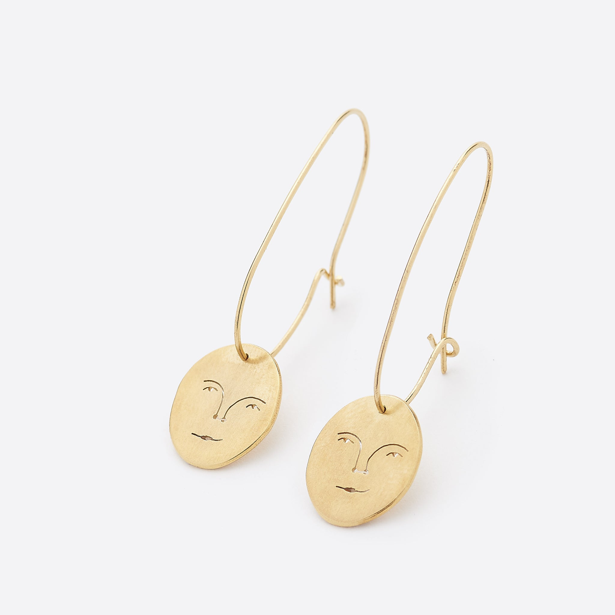 Polly Collins Sun Face Earrings in Gold