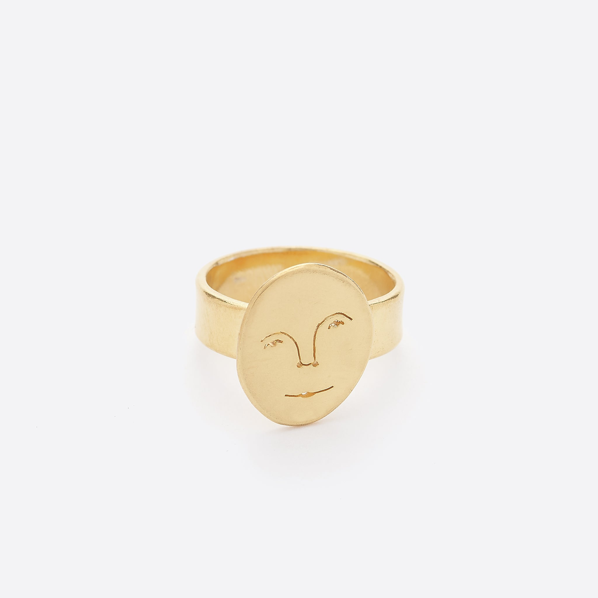 Polly Collins Sun Face Ring in Gold