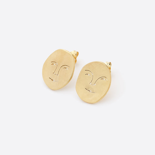 Polly Collins Small Sun Face Studs in Gold