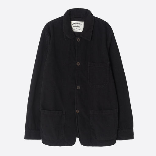 Portuguese Flannel Labura Overshirt in Black Corduroy