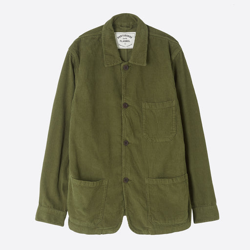 Portuguese Flannel Labura Overshirt in Olive Corduroy.