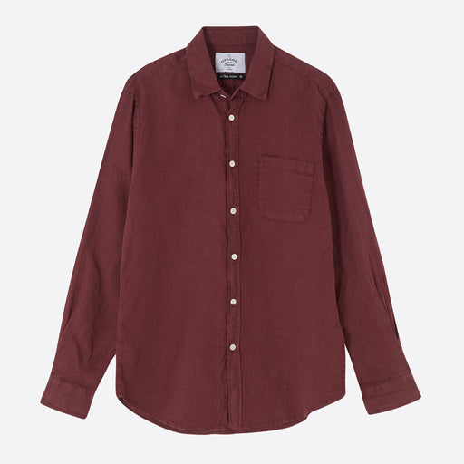 Portuguese Flannel Linen Shirt in Bordeaux
