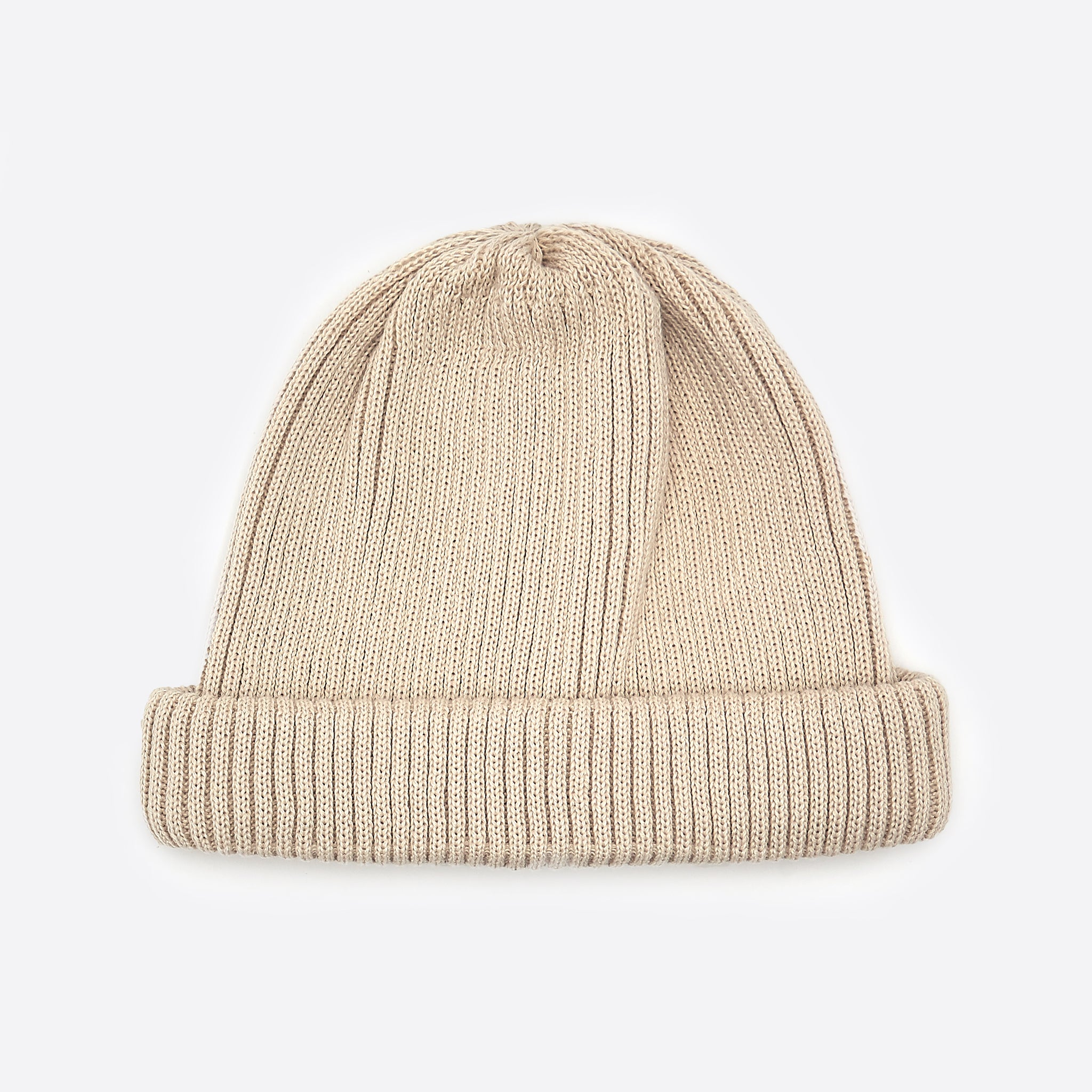 RoToTo Cotton Roll Up Beanie in Ivory