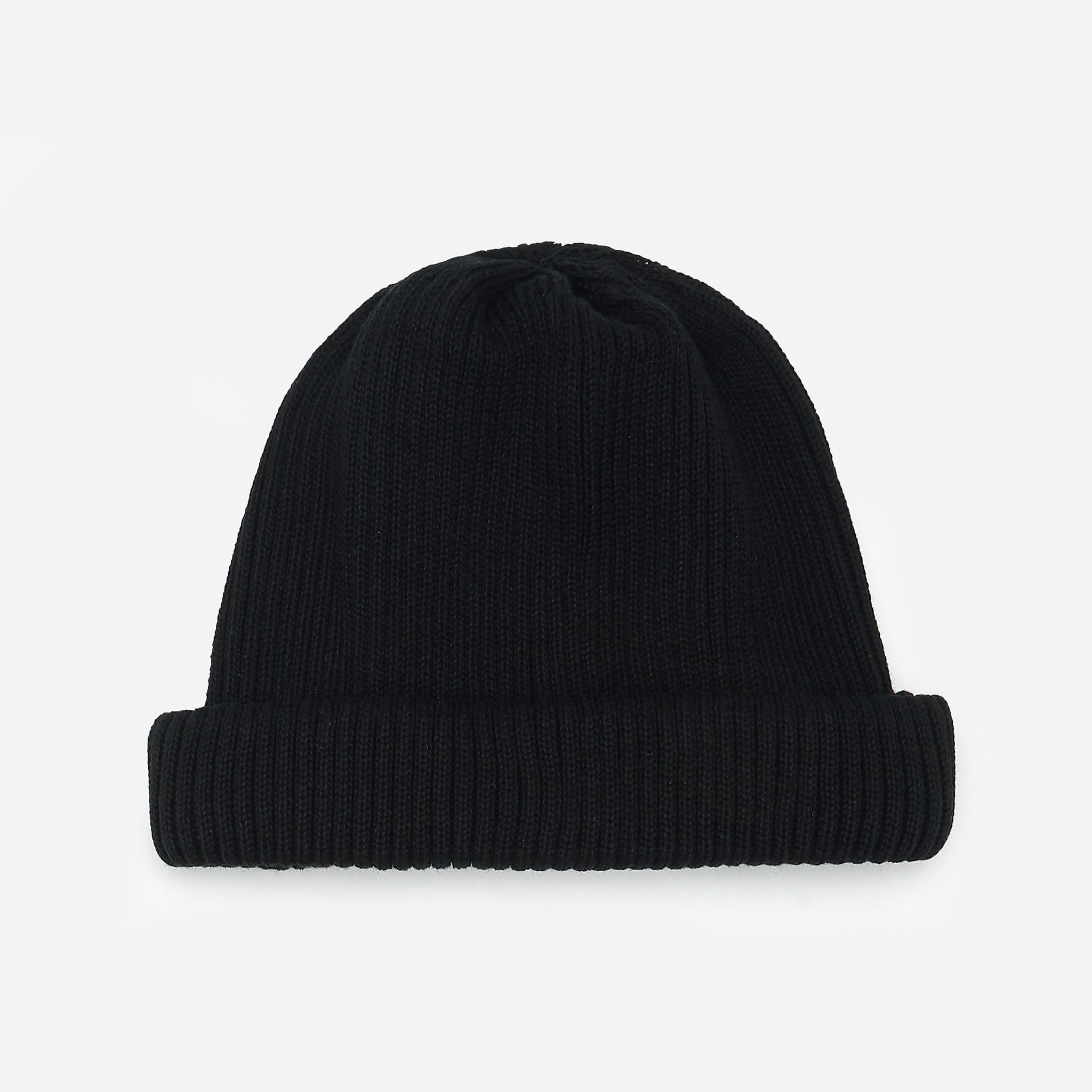RoToTo Cotton Roll Up Beanie in Black