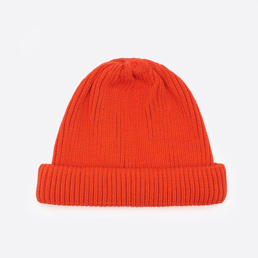 RoToTo Cotton Roll Up Beanie in Orange
