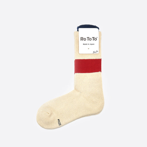 RoToTo Classic Crew Socks 'Silk Noil' Ivory / Red