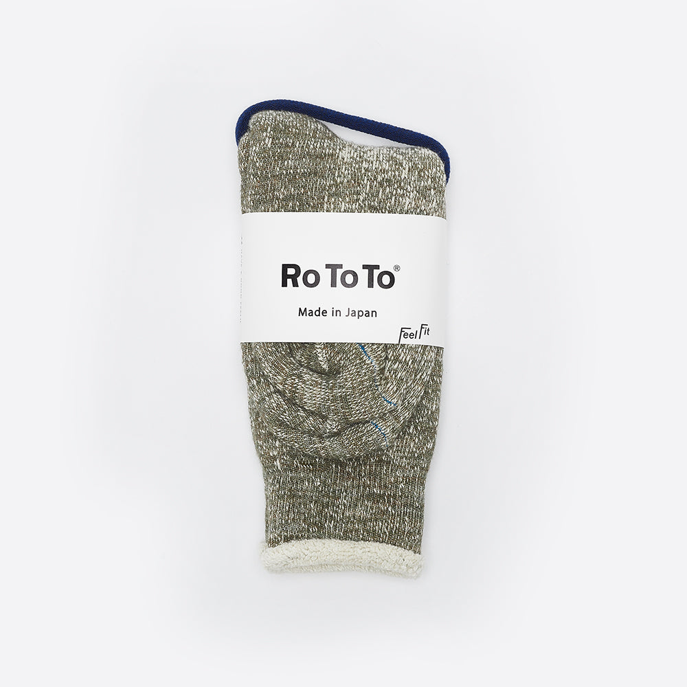 RoToTo Double Face Merino Socks Army Green