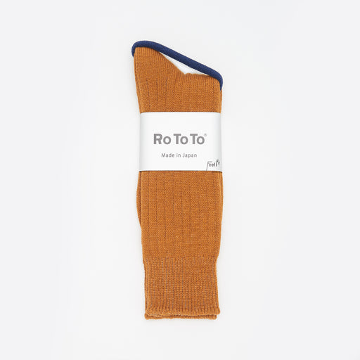 RoToTo Cotton / Wool Rib Socks in Gold