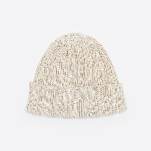 Rototo Linen and Cotton Knit Cap in Ivory