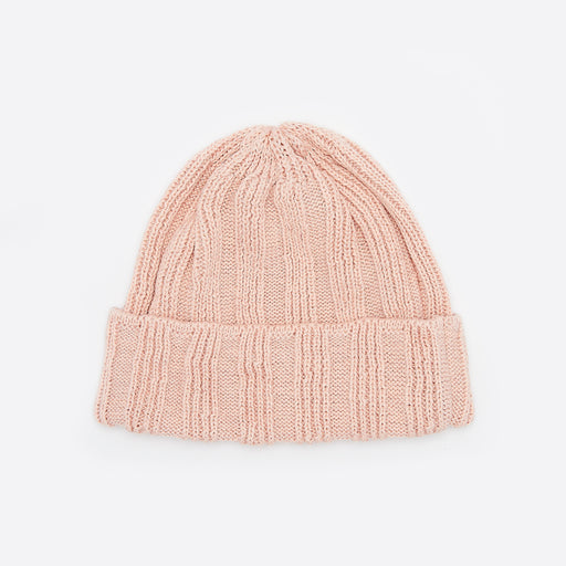 Rototo Linen and Cotton Knit Cap in Light Pink