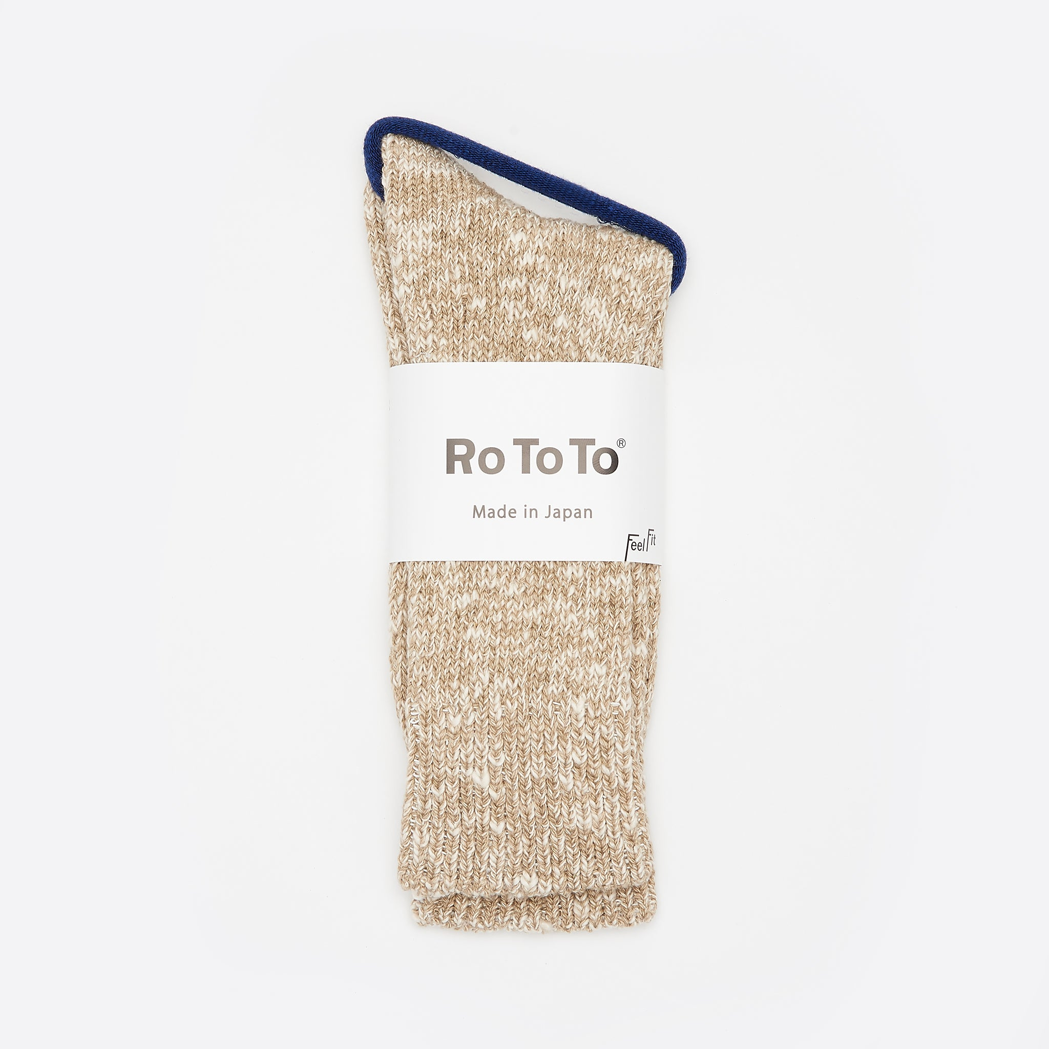RoToTo Low Gauge Slub Crew Socks in Beige