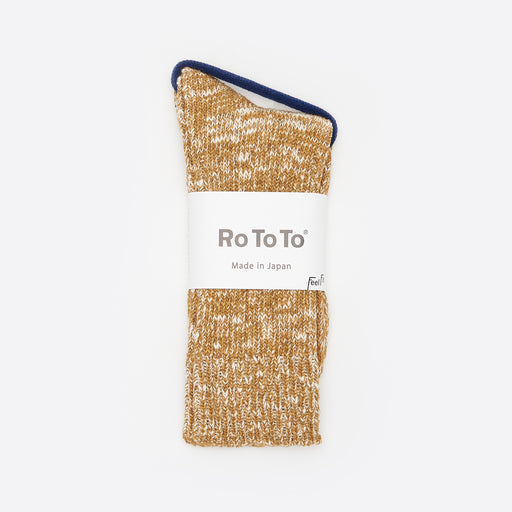 RoToTo Low Gauge Slub Crew Socks in Mustard