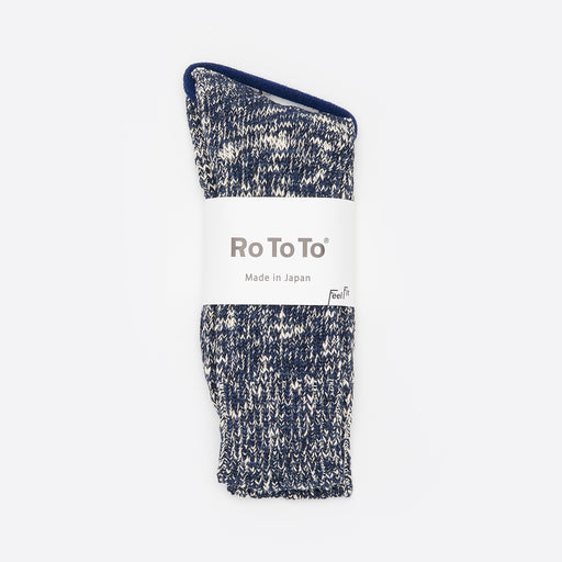 RoToTo Low Gauge Slub Crew Socks in Navy