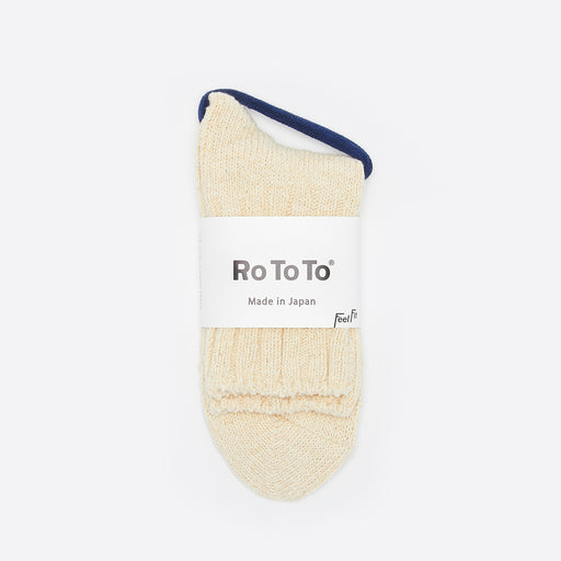 Rototo Low Gauge Slub Socks in Ecru