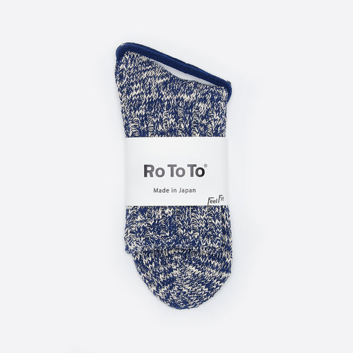 Rototo Low Gauge Slub Socks in Navy