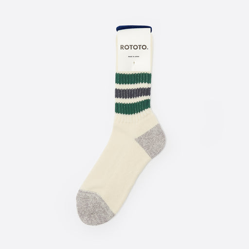 RoToTo Old School Socks in Green/Charcoal
