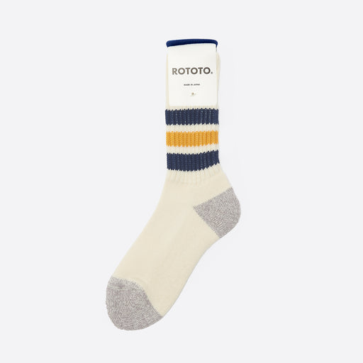 RoToTo Old School Socks in Navy/Yellow