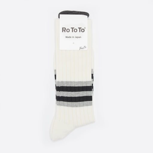 Rototo Old School Striped Socks in White/Black