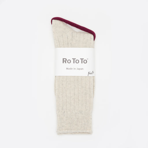 RoToTo Cotton / Wool Rib Socks in Ash Grey