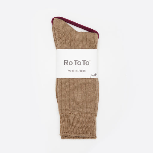 RoToTo Cotton / Wool Rib Socks in Camel