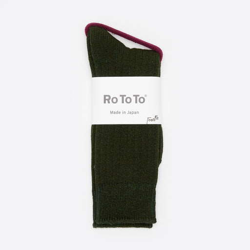 RoToTo Cotton / Wool Rib Socks in Green