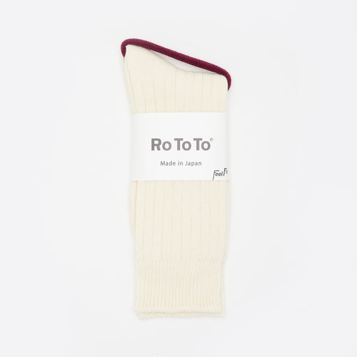 RoToTo Cotton / Wool Rib Socks in White