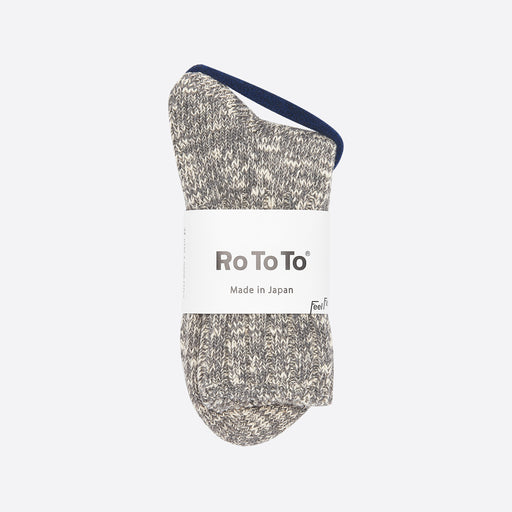 Rototo Low Gauge Slub Socks in Medium Grey