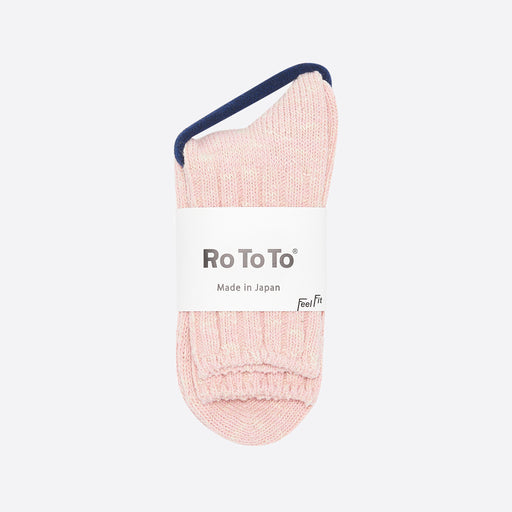 Rototo Low Gauge Slub Socks in Pink
