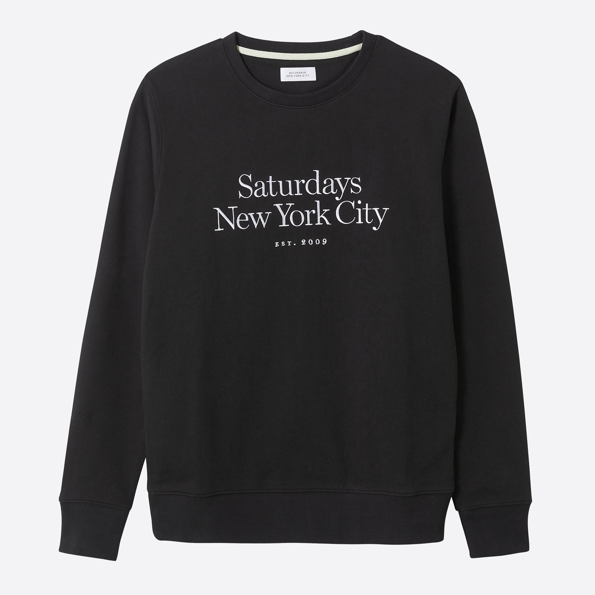 Saturdays NYC Bowery Miller Standard Embroidered Sweatshirt in Black