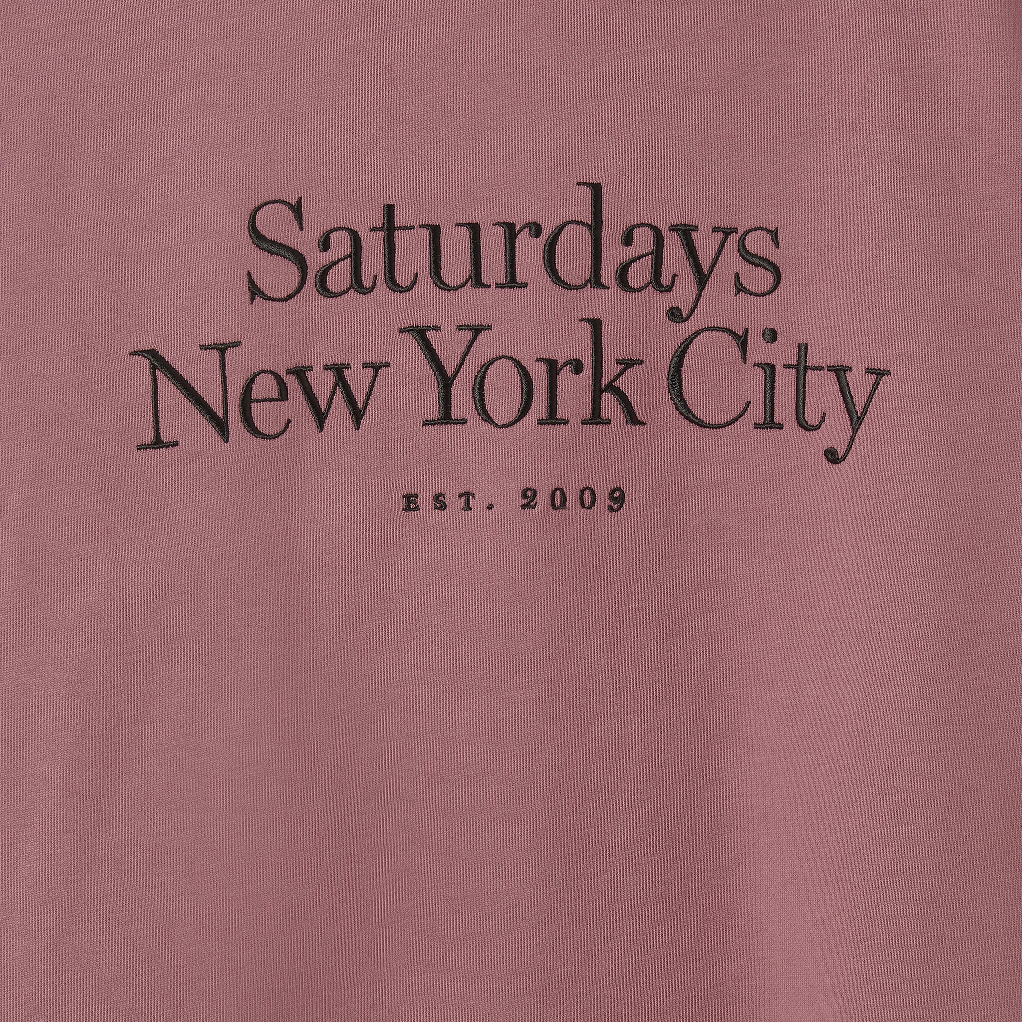 Saturdays NYC Bowery Miller Standard Embroidered Sweatshirt in Light Plum