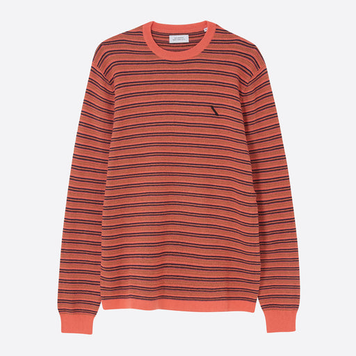 Saturdays NYC Lee Stripe Sweater in Peach