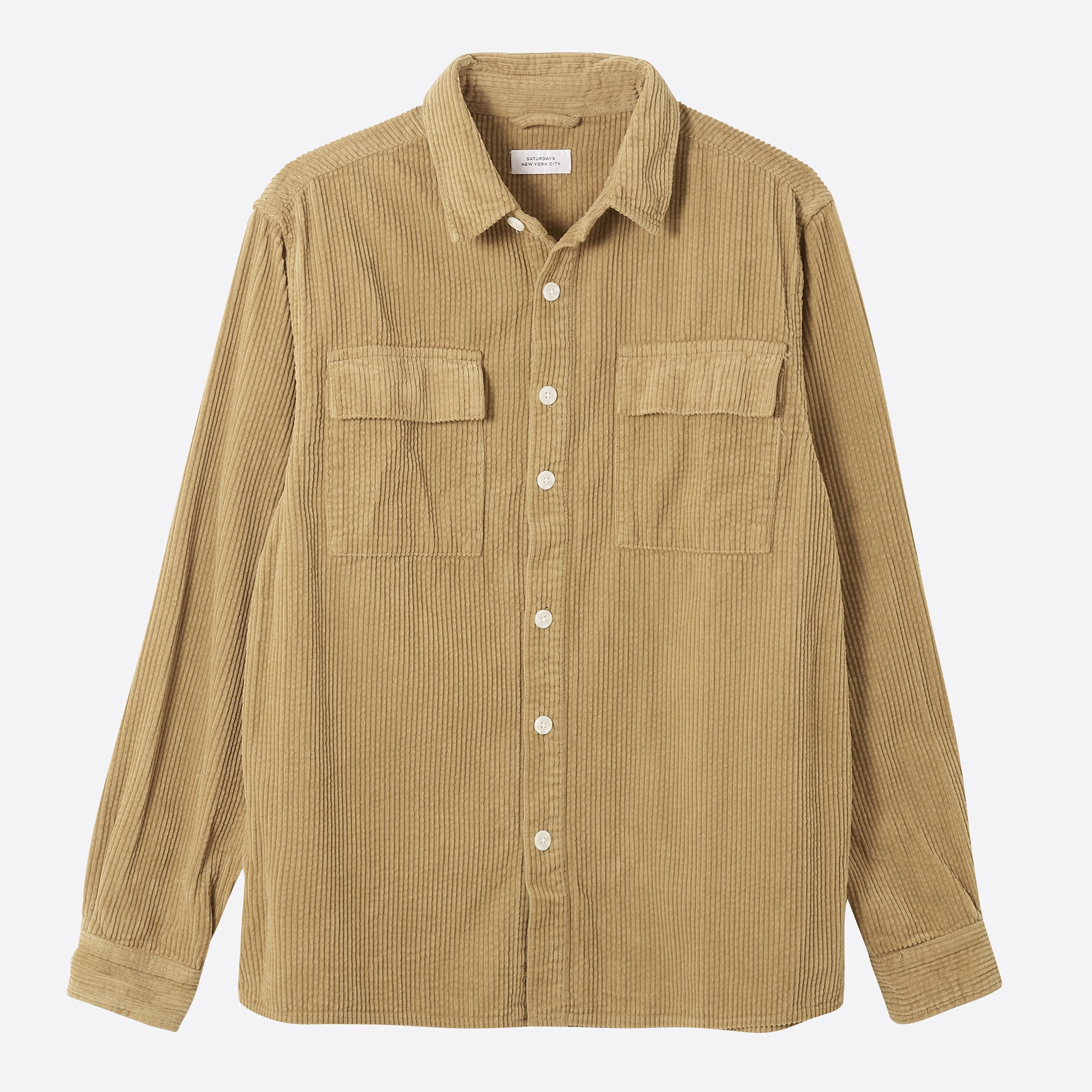 Saturdays NYC Magnus Heavy Cord Shirt in British Khaki