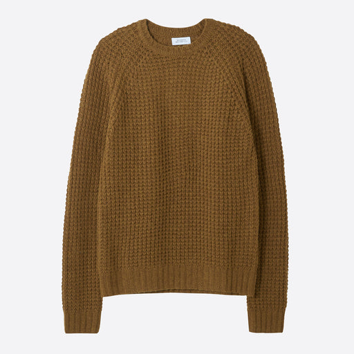 Saturdays NYC Miguel Waffle Knit Sweater in British Khaki
