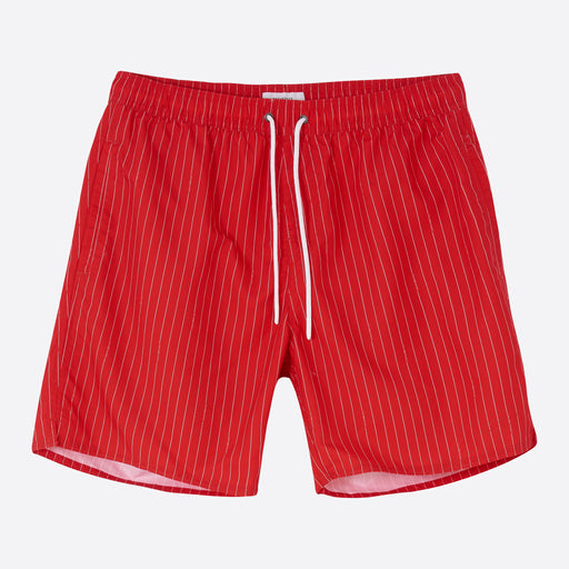 Saturdays NYC Timothy Logo Stripe Swim Short in True Red