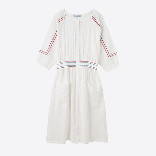 Sideline Roxie Dress in Embroidered White