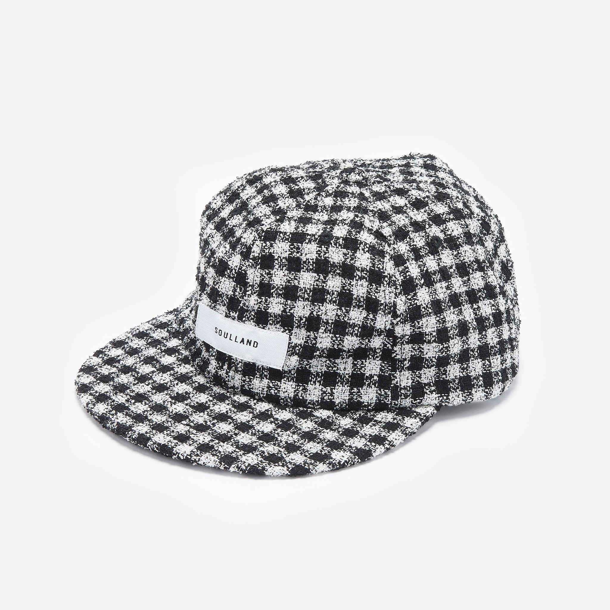 Soulland Javier 6 Panel Check Cap in Black and White