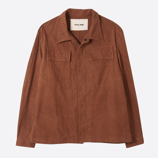 STORY Mfg Bicker Shirt in Bark Slub
