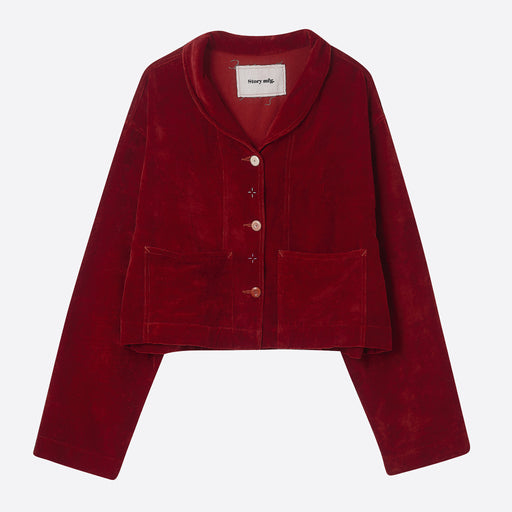 Story MFG Cropped Salty Jacket in Rose Madder Velvet