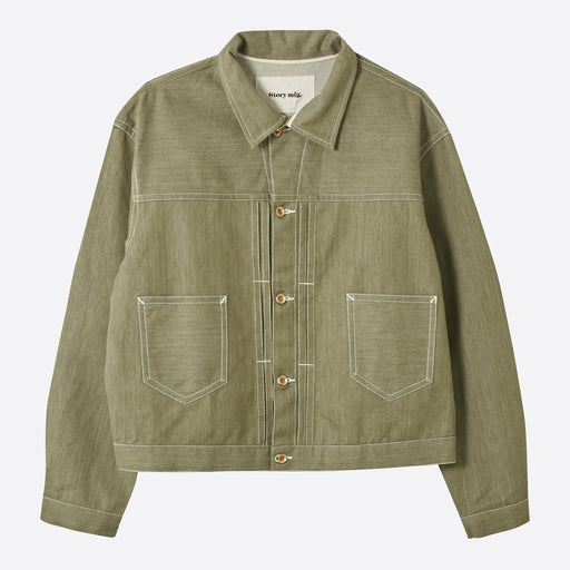 STORY Mfg Sundae Jacket in Khaki Selvedge Denim