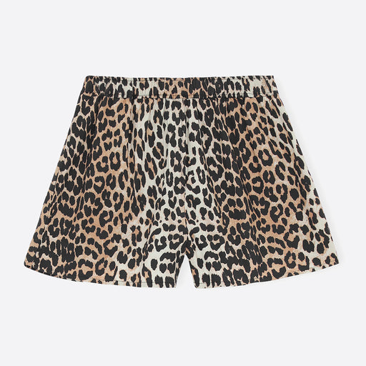 Ganni Printed Cotton Poplin Shorts in Leopard