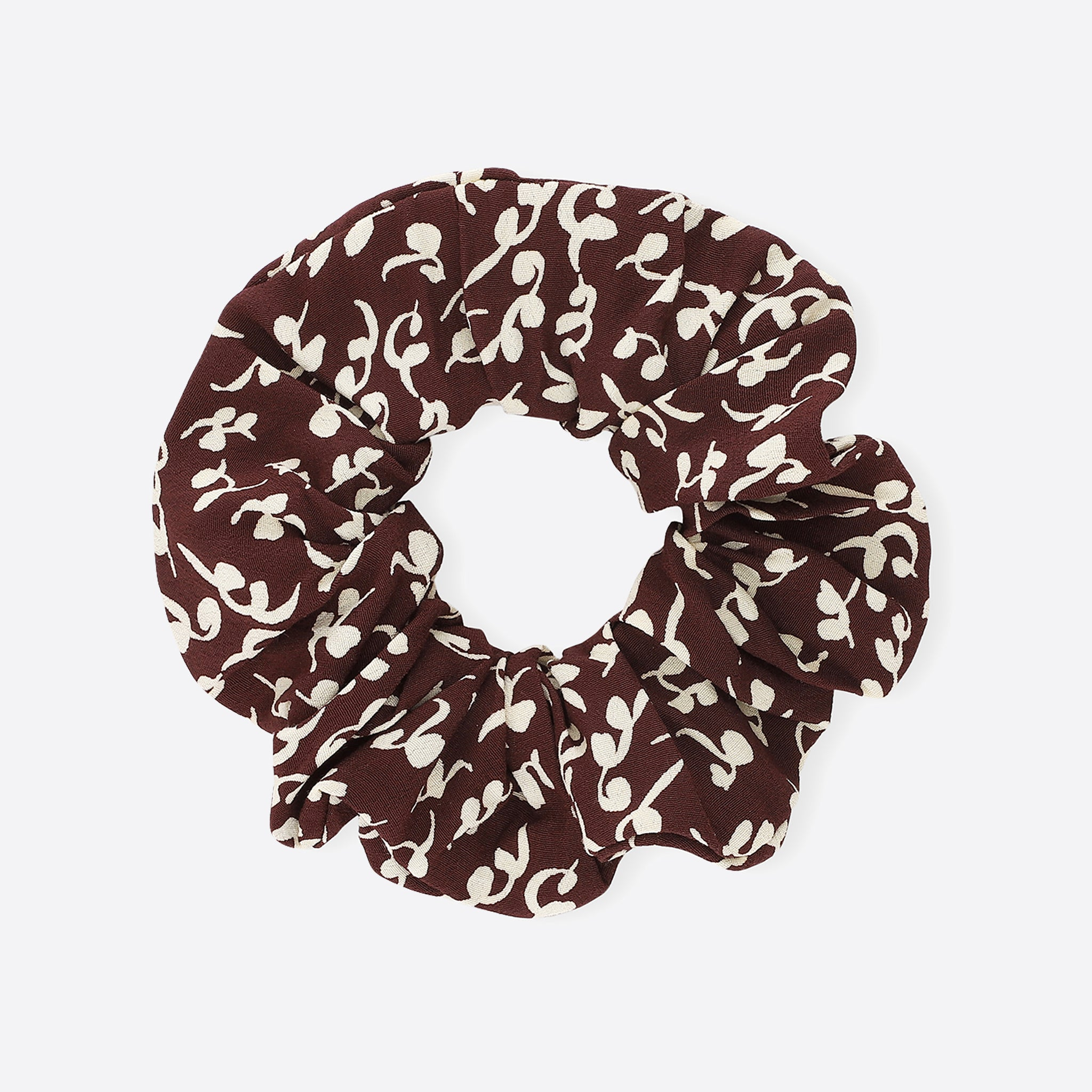 Ganni Printed Crepe Scrunchie in Decadent Chocolate