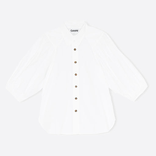 Ganni Cotton Poplin Shirt in White