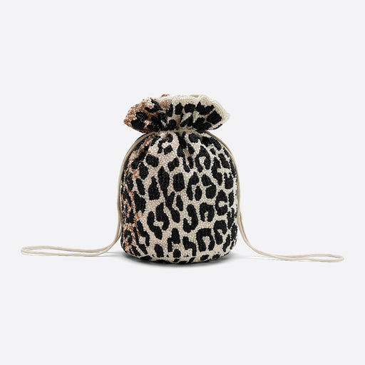 Ganni Hand Beaded Drawstring Purse in Leopard