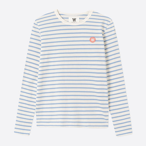 Wood Wood Double A Long Sleeve in Off White/Blue Stripes